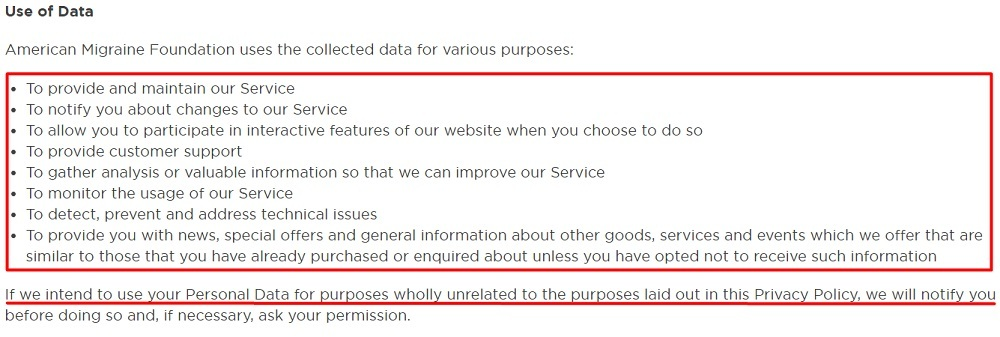 American Migraine Foundation Privacy Policy: Use of Data clause