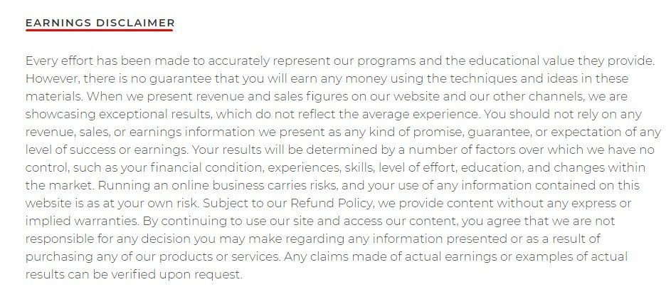 Amy Porterfield Earnings Disclaimer updated