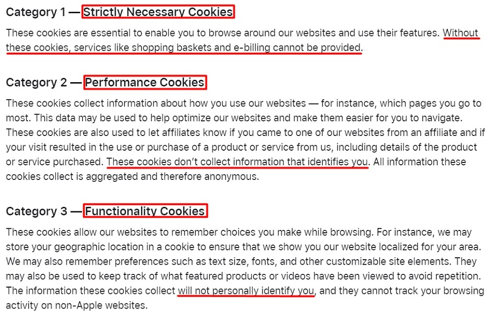 Apple Use of Cookies: Categories section