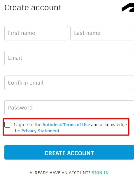 Autodesk Create Account form with Agree checkbox highlighted