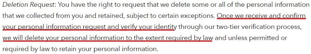 Brunswick Privacy Policy: Deletion Request clause