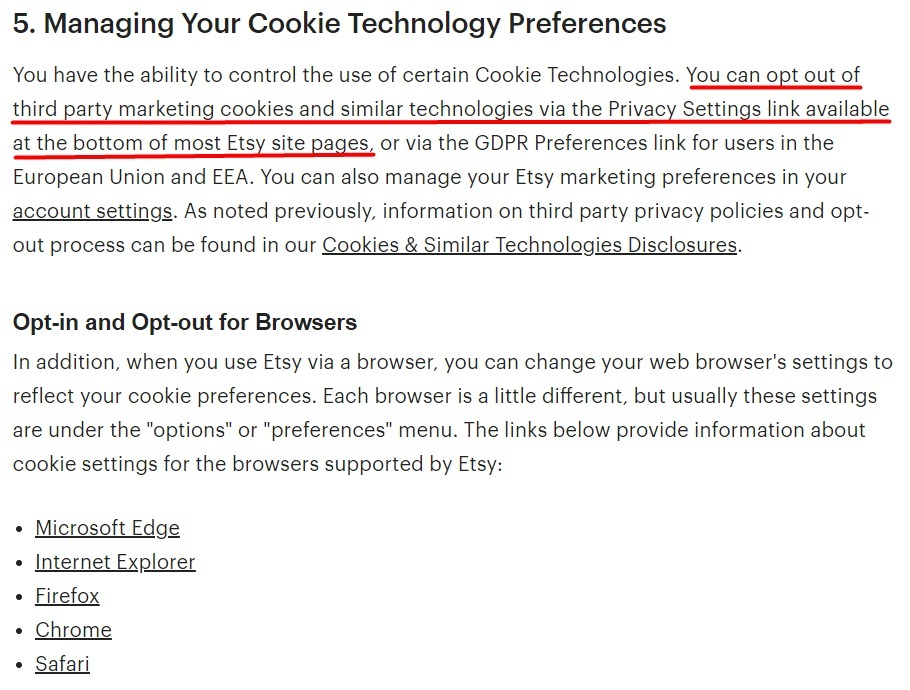 Etsy Cookies and Similar Technologies Policy: Managing Your Cookie Technology preferences and Opt-in and Opt-out for browsers sections