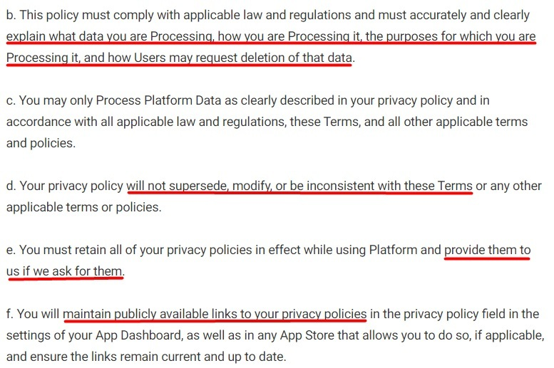 Facebook for Developers: Platform Terms - Privacy Policy clause excerpt