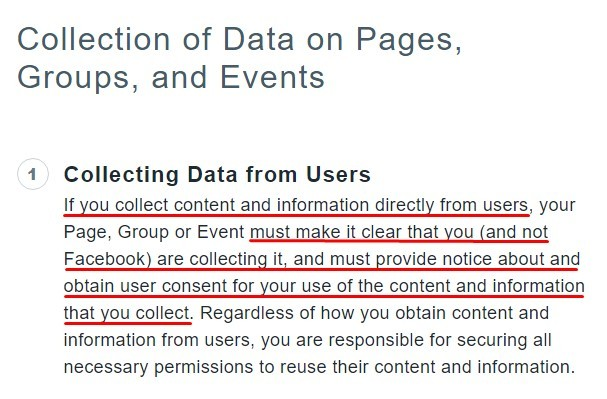 Facebook Policy Center: Collection of Data on Pages Groups and Events - Collecting Data from Users section