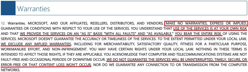 Microsoft Services Agreement: Warranties clause